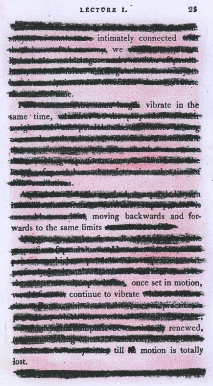"A lecture on pendulums from the 1805 textbook ""A Compendious System of Astronomy"" redacted into a love poem."