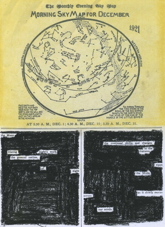 "The morning sky map for December 1921 in the ""Review of Popular Astronomy.""  I have redacted a poem each from the two columns of text."