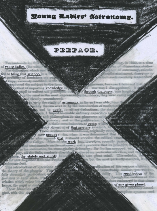"""The preface of the 1825 textbook for girls """"Young Ladies' Astronomy"""" redacted into a poem."""