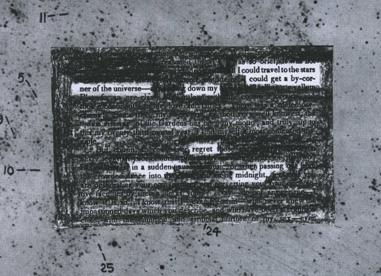 "A fiction piece from ""American Monthly Magazine,"" Volume I (1829) redacted into a poem.  The surrounding frame is part of a Hubble photographic plate of M33."