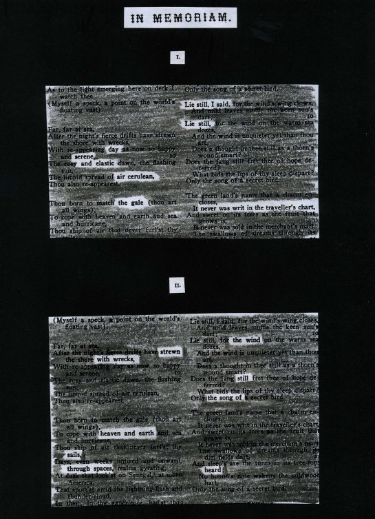 "In memory of the crew of STS-51-L, lost January 28, 1986.This redacted poem borrows two columns of text: at left, Walt Whitman's ""To the Man-of-War Bird"" and at right Algernon Charles Swinburne's ""A Ballade of Dreamland."""