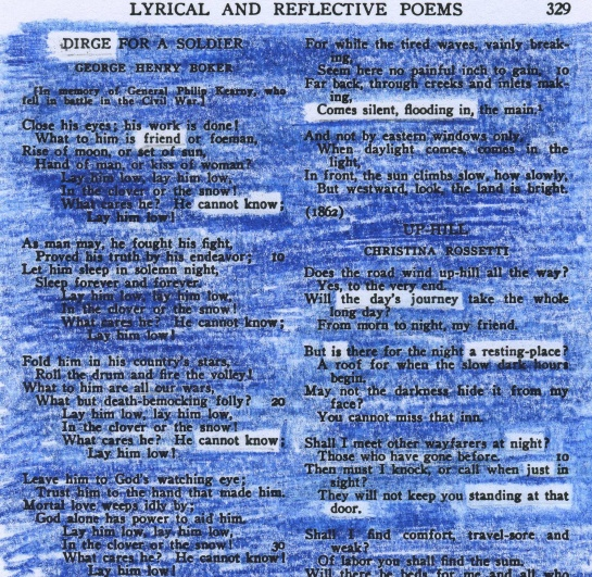 """A redacted poem remembering the crew of Columbia, lost February 1, 2003.  The poem borrows words from George Henry Boker's """"Dirge for a Soldier"""" (1862) and Christina Rossetti's """"Up-Hill"""" (1862)."""