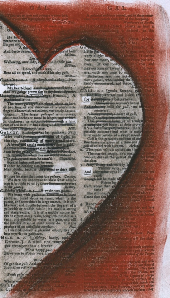 "Entry for ""galaxy"" and collocated entries in Samuel Johnson's 1805 ""A Dictionary of the English Language"" (Vol. II) redacted into a valentine."