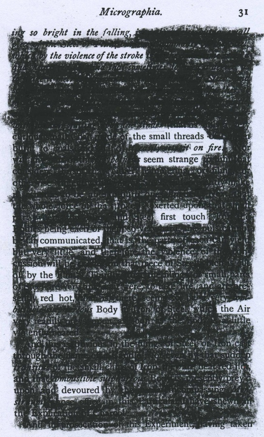 "Robert Hooke's 1665 ""Micrographia"" redacted into a poem about the Feb. 15, 2013 Chelyabinsk meteor.  (For the redaction, I used a reprint--""Extracts from Micrographia""--which was published in 1906.)"