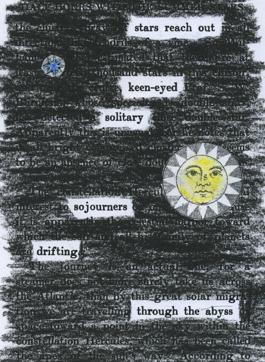 "Mary Proctor's 1911 ""Half-hours with the summer stars"" redacted into a poem.  The graphic elements are fragments from the 1771 edition of Encyclopedia Britannica, Plate XLII."