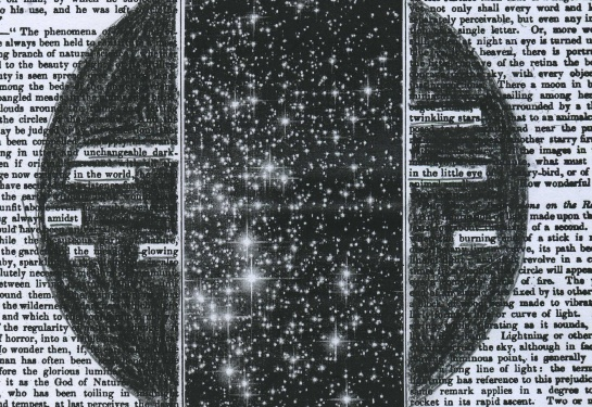 """The Literary Gazette: A Weekly Journal of Literature, Arts, and Sciences,"" Volume 13 (1829) redacted into a poem.  Stars are taken from a photo of the globular star cluster Messier 107.  Photo credit: ESA/NASA."