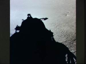 Silhouette of Eagle (Apollo 11 lunar module) on Moon's surface.  Image credit: NASA