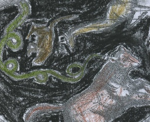 "Close-up of Burritt's ""Geography of the Heavens"" blacked out with chalks."