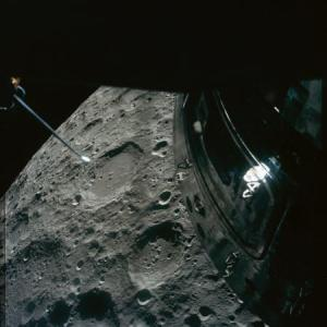 A photo of Crater Chaplygin captured during the Apollo 13 mission.  Image credit: NASA.