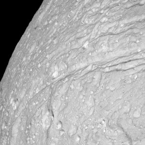 Ithaca Chasma on Saturn's moon, Tethys, photographed by Cassini.  Image credit: NASA/JPL/Space Science Institute.
