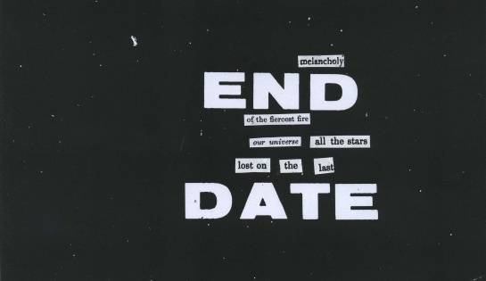 """The words """"END"""" and """"DATE"""" are from the microfilm copy (the """"end date filmed"""" page) of the Apollo 204 report.  The background detritus is from the microfilm copy.  Words from a variety of other texts float in."""