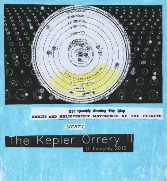 "A January 1921 sky map (from the ""Review of Popular Astronomy"") overlays Daniel Fabrycky's 2012 ""Kepler Orrery II."""