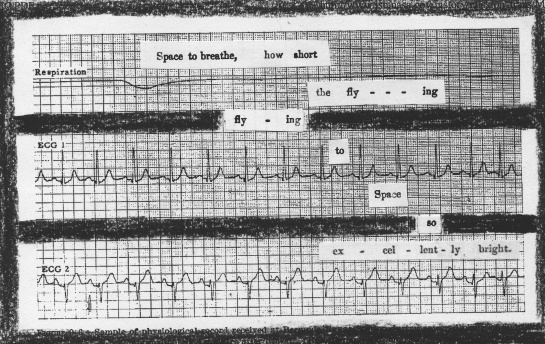 "John Glenn's physiological data (reading from 4 minutes after lift-off for the MA-6 mission).  Source: NASA, ""Results of the First Manned Orbital Space Flight,"" February 20, 1962.  Overwriting the data is pieces of a score from Georg Wilhelm Roehner's 1850 ""A practical treatise on musical composition."""
