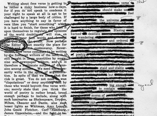 "The August 15, 1917 edition of ""The Editor"" redacted into a poem."