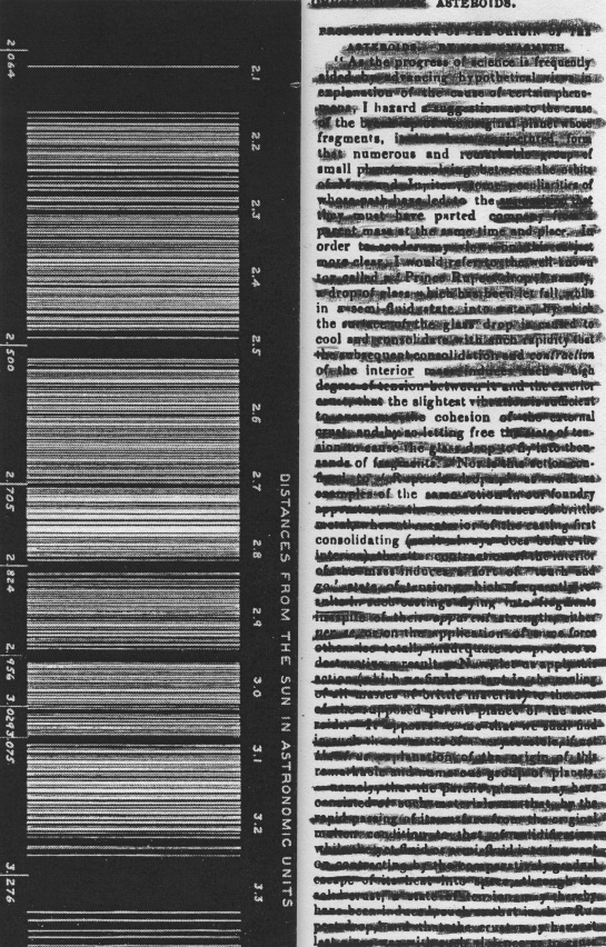 """""""The Mechanic's Magazine,"""" Volume 57, redacted into a poem.  The graphic hiding the text in the left column is a figure showing asteroid distances from the sun (from Percival Lowell's """"Saturn's Rings: A Memoir."""")"""