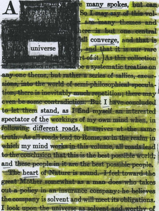 "A page of John Burroughs' ""Accepting the Universe"" (1920) redacted into a poem."