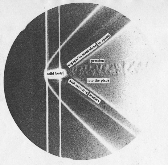 "Ernst Mach's 1888 photograph of bowshocks from a brass bullet.  The clipped words pasted onto the photo are from Mach's ""Contributions to the Analysis of the Sensations"" (1910)."