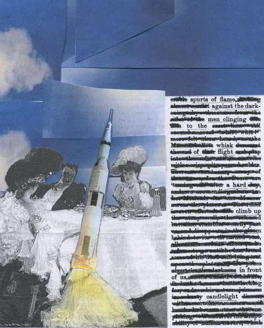 A dinner party scene combined with rocket launch.  The text I redacted is from a 1901 edition of Blackwood's Edinburgh Magazine.  The diners are part of a Victorian illustration by H.C. Hoffbauer.  And the rocket is Apollo 15, launched July 26, 1971.  (Rocket image credit: NASA)