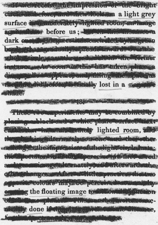 "A page of ""Goethe's Theory of Colours,"" by Johann Wolfgang von Goethe redacted into a plea for dark skies."