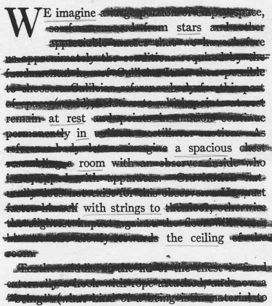 "A page of Albert Einstein's ""Relativity: The Special and General Theory"" redacted into a poem.  (The text is Robert W. Lawson's 1920 translation of Einstein's work.)"