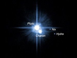Pluto's moons. The moon Nix is named after the Greek goddess of the night.  Image credit: NASA, ESA, H. Weaver (JHU/APL), A. Stern (SwRI) and the HST Pluto Companion Search Team.