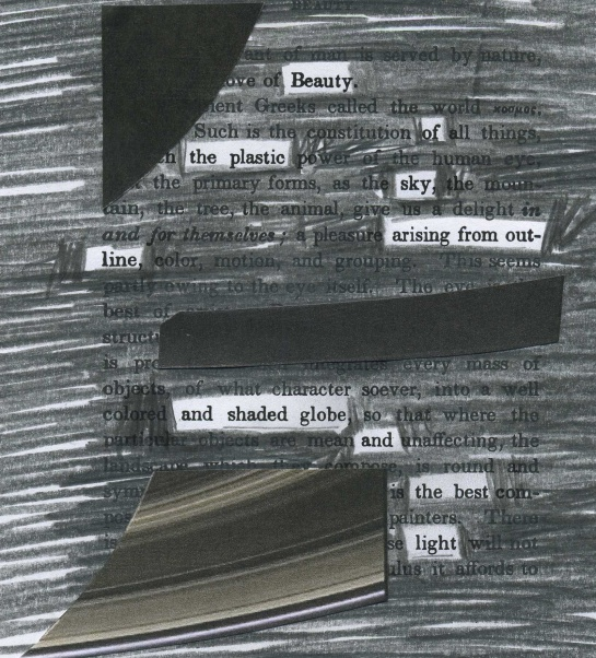 "A page of Ralph Waldo Emerson's ""Nature"" redacted into a poem about Saturn and rings.  Image fragments are from the 7/22/13 Cassini image of Saturn and Earth (image credit: NASA/JPL-Caltech/Space Science Institute)"