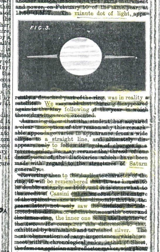"A page of the ""English Mechanic and Mirror of Science and Art"" (1870) redacted into a poem for today's historic photo of Earth taken by Cassini."