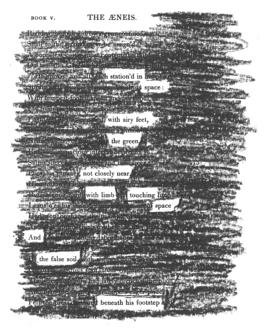"A page of Virgil's ""Aeneid"" redacted into a poem.  (Translation by Charles Symmons, 1820.)"