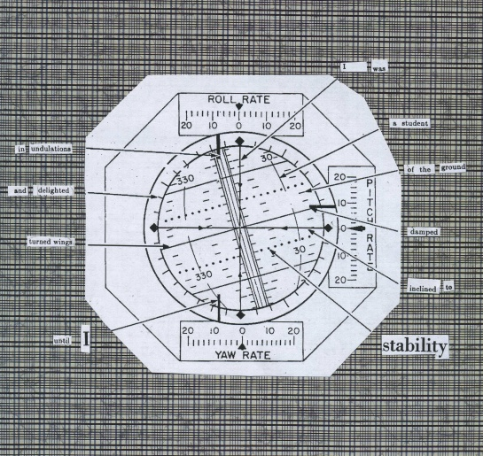 Text from an early Scientific American article about flight stand in for text in an Apollo attitude indicator diagram.