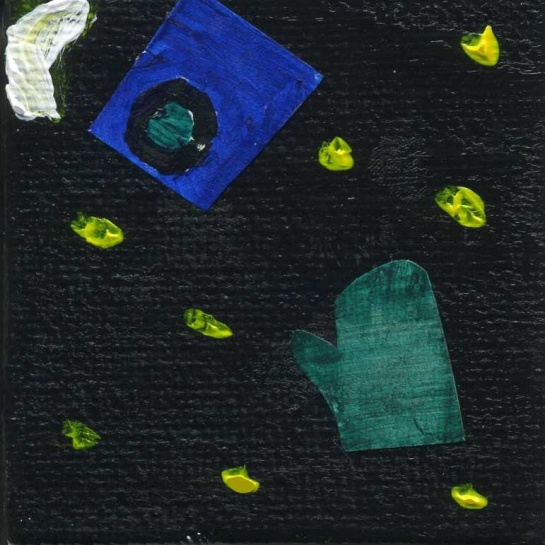 My daughter's artistic tribute to space junk.  The glove represents the spare glove Ed White lost through the open hatch during a Gemini mission; it burned up on re-entry.  The camera is Sunita Williams' camera which became untethered during a spacewalk from the ISS and floated off.  It remains in space.  (Acrylic and paper on canvas.)