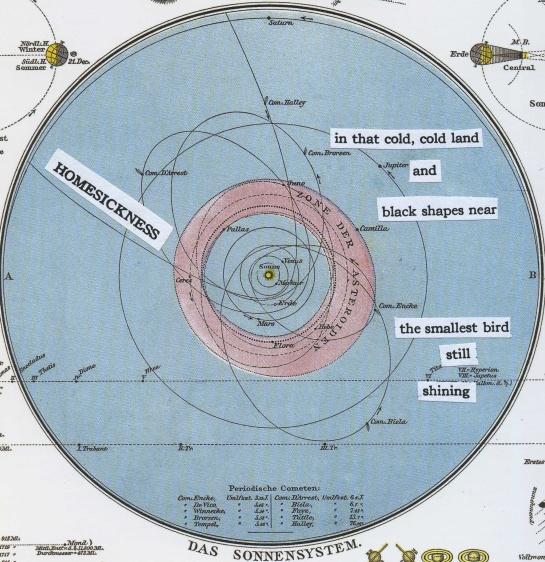 NASA announced today that Voyager 1 has reached interstellar space.  I borrowed words from old Japanese poems and pasted them on an 1881 German map of the solar system to mark the occasion.