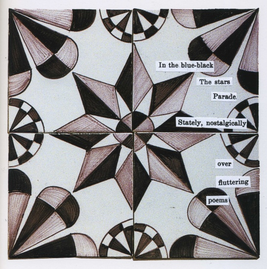 A new poem created by pasting clipped words from several old Japanese poems unto a photograph of Dutch tiles.