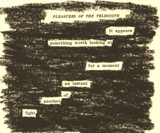 "A page of Garrett Putman Serviss' ""Pleasures of a Telescope: An Illustrated Guide for Amateur Astronomers and a Popular Description of the Chief Wonders of the Heavens for General Readers"" (1901) redacted into a poem."