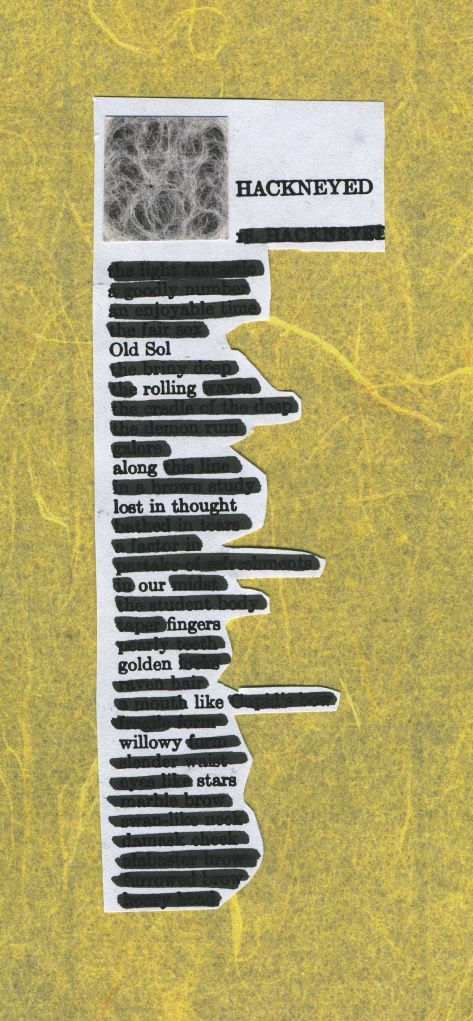 "A page of ""hackneyed expressions"" redacted down to a poem about our sun.  (The text is from ""The Study and Practice of Writing English,"" by Gerhard Lomer and Margaret Ashmun.)"