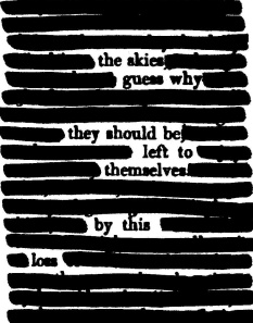 "A page of the 1819 ""Blackwood's Edinburgh Magazine, Volume 5"" redacted into a poem about the ongoing U.S. government shutdown (which impacts NASA)."