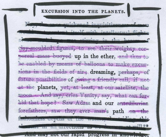 "A page of the 1839 ""A Fantastical Excursion into the Planets"" redacted into a poetic fragment."