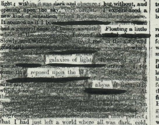 A page of Tait's Edinburgh Magazine, Volume 3 (1836) redacted into a poem.