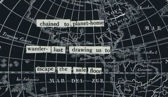 """Text cut from a 1917 """"Popular Science Monthly"""" article and pasted onto a 19th century French map of Earth."""