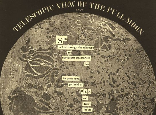 "Old graphic of the Moon (from ""Smith's Illustrated Astronomy,"" 1855) with cut text from an old Audubon Magazine."