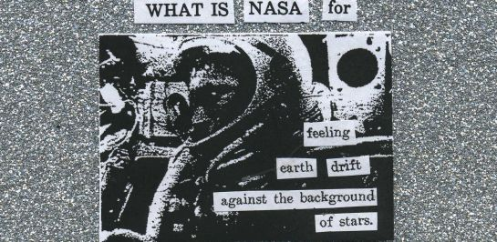 Cut text poem created with text from an old Apollo era report from NASA.  Center image is of a NASA astronaut.
