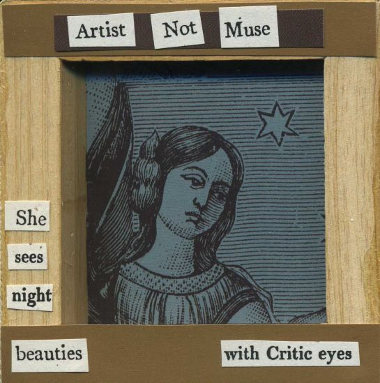 "Cut text from the 1811 ""The Exhibition: A Poem"" pasted onto the wood frame of a canvas.  Background image from an old woodprint."