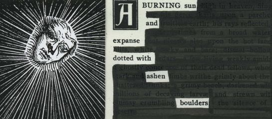"""A page of the """"The Muse: A Little Book of Art and Letters"""" (1900) redacted into a poem.  Sun graphic is part of an old woodcut attributed to Holbein."""