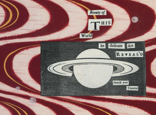 "Haiku I wrote for my 5,000th tweet honoring the Cassini mission to Saturn.  The haiku uses text from Christaan Huygens' ""Celestial Worlds"" (1698).  The wavy background made from picture of kimono fabric."