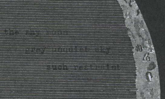 """Haiku typed onto a sliver of a moon image from """"Smith's Illustrated Astronomy"""" (1848)."""