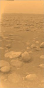 Image of Titan's surface taken by the Huygens probe on January 14, 2005.  Image credit: ESA/NASA/JPL/University of Arizona