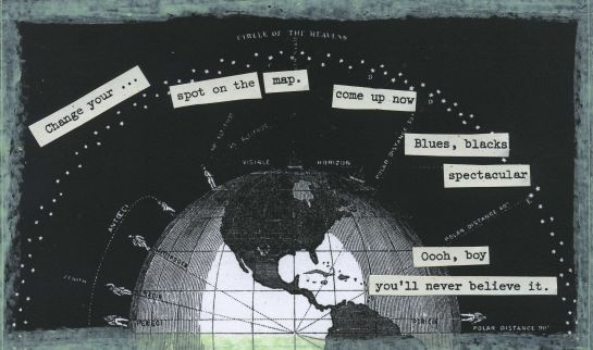 "Cut text from old NASA mission transcripts pasted onto an illustration from ""Smith's Illustrated Astronomy."""
