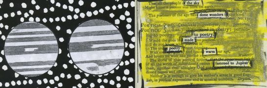 "A page of an old dictionary redacted into a poem.  Jupiter illustrations from ""Smith's Illustrated Astronomy"" pasted onto graphic background."