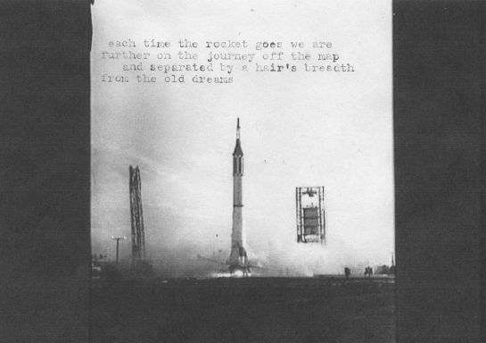 Poem typed onto old image of a Redstone rocket launch.