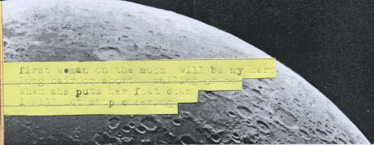 "Typed poem glued onto a picture of the Moon from Pickering's 1904 ""The moon: a summary of the existing knowledge of our satellite, with a complete photographic atlas."""
