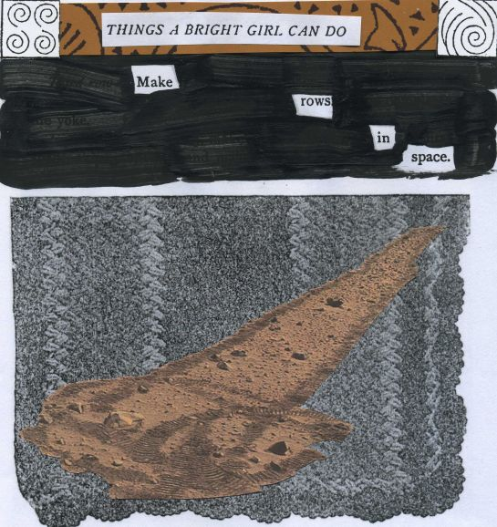 "Text from the 1903 ""Three Hundred Things a Bright Girl Can Do"" redacted into something new.  Image overwriting the original image of an afghan is Mars rover Spirit tracks (image credit: NASA/JPL-Caltech)"